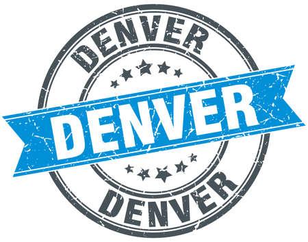denver: Denver blue round grunge vintage ribbon stamp
