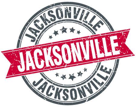 jacksonville: Jacksonville red round grunge vintage ribbon stamp Illustration