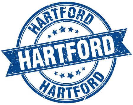 hartford: Hartford blue round grunge vintage ribbon stamp