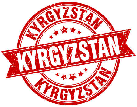 kyrgyzstan: Kyrgyzstan red round grunge vintage ribbon stamp Vectores