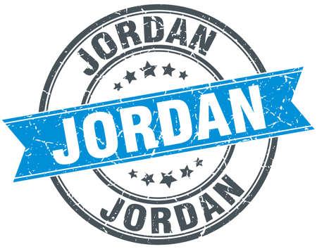 jordan: Jordan blue round grunge vintage ribbon stamp