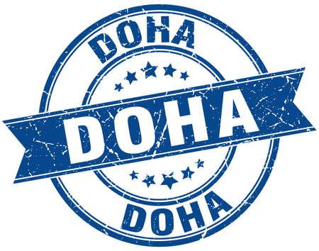 doha: Doha blue round grunge vintage ribbon stamp