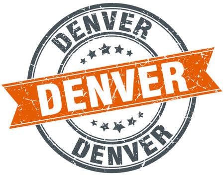denver: Denver red round grunge vintage ribbon stamp Illustration