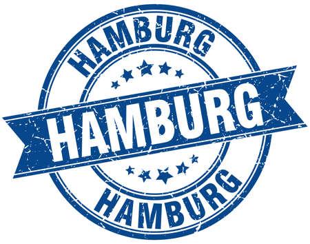 hamburg: Hamburg blue round grunge vintage ribbon stamp