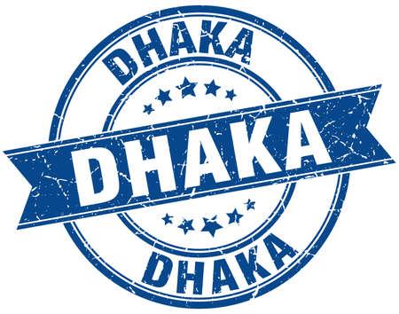 dhaka: Dhaka blue round grunge vintage ribbon stamp