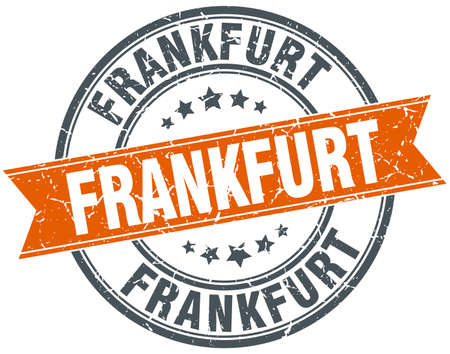 frankfurt: Frankfurt red round grunge vintage ribbon stamp