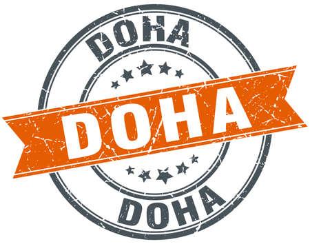 doha: Doha red round grunge vintage ribbon stamp