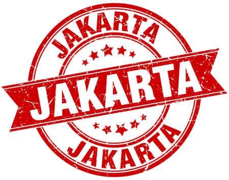 jakarta: Jakarta red round grunge vintage ribbon stamp