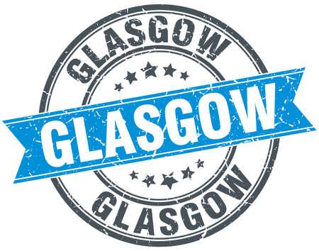 glasgow: Glasgow blue round grunge vintage ribbon stamp