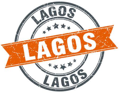 lagos: Lagos red round grunge vintage ribbon stamp Illustration
