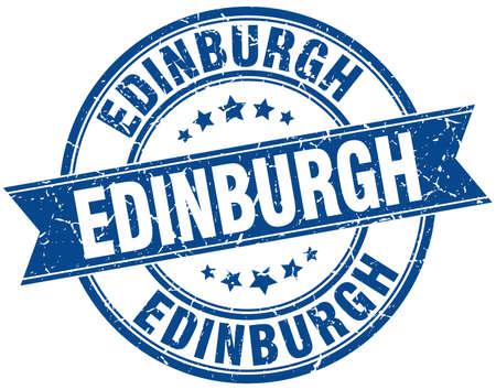 edinburgh: Edinburgh blue round grunge vintage ribbon stamp