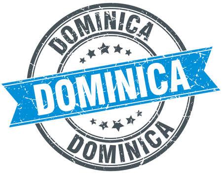 dominica: Dominica blue round grunge vintage ribbon stamp
