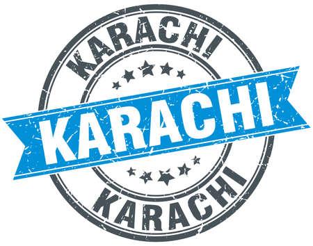 karachi: Karachi blue round grunge vintage ribbon stamp