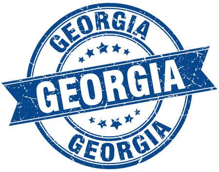 georgia: Georgia blue round grunge vintage ribbon stamp