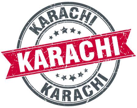 karachi: Karachi red round grunge vintage ribbon stamp Illustration