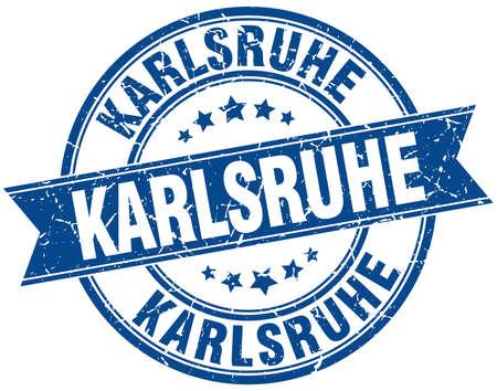 karlsruhe: Karlsruhe blue round grunge vintage ribbon stamp Illustration