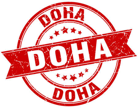 Doha red round grunge vintage ribbon stamp