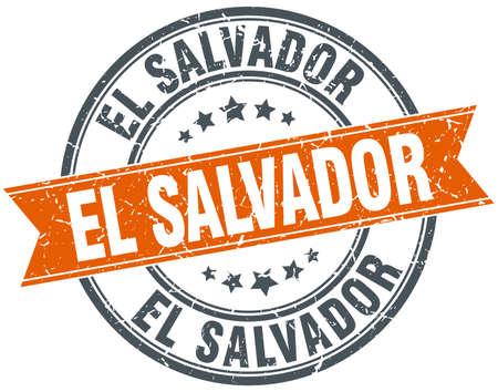 rubber band: El Salvador red round grunge vintage ribbon stamp Illustration