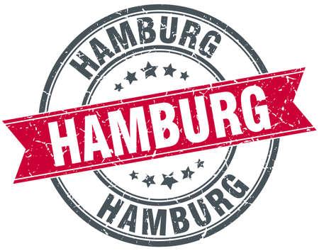 hamburg: Hamburg red round grunge vintage ribbon stamp