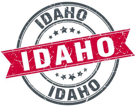idaho: Idaho red round grunge vintage ribbon stamp Illustration