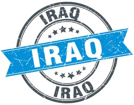 iraq: Iraq blue round grunge vintage ribbon stamp