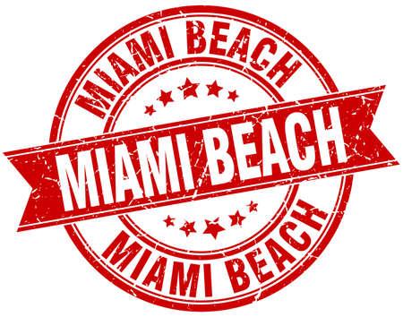 miami: Miami Beach red round grunge vintage ribbon stamp