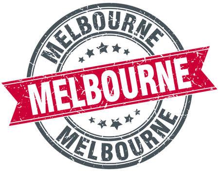 melbourne: Melbourne red round grunge vintage ribbon stamp