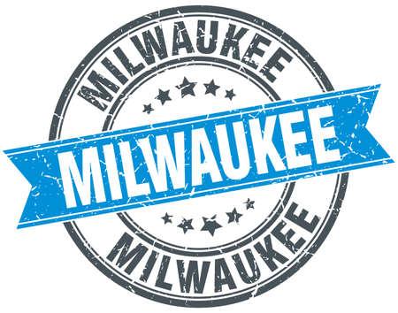 milwaukee: Milwaukee blue round grunge vintage ribbon stamp Illustration