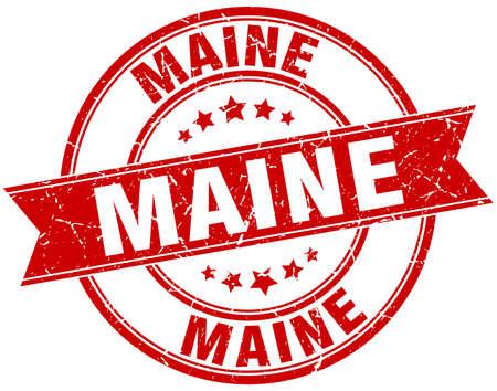 maine: Maine red round grunge vintage ribbon stamp