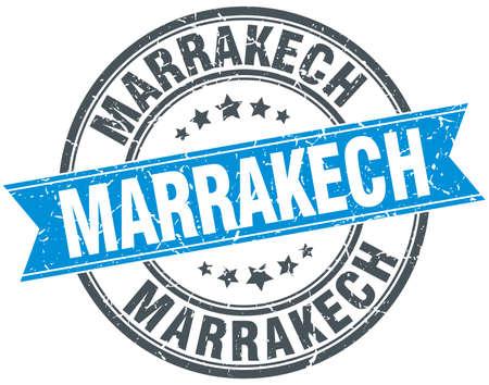 marrakech: Marrakech blue round grunge vintage ribbon stamp Illustration