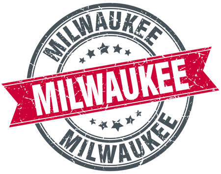 Milwaukee: Milwaukee red round grunge vintage ribbon stamp