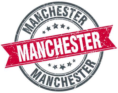 manchester: Manchester red round grunge vintage ribbon stamp