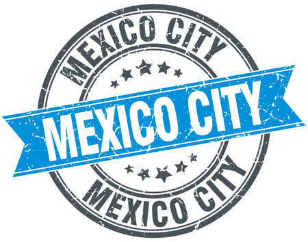 mexico city: Mexico City blue round grunge vintage ribbon stamp