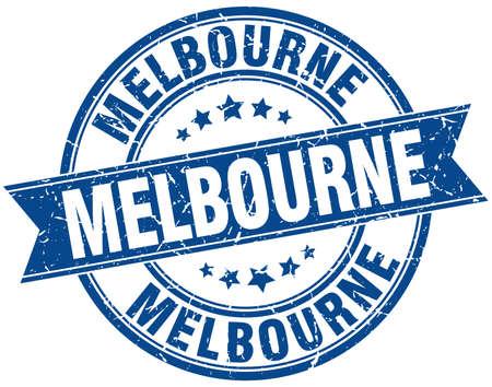 melbourne: Melbourne blue round grunge vintage ribbon stamp