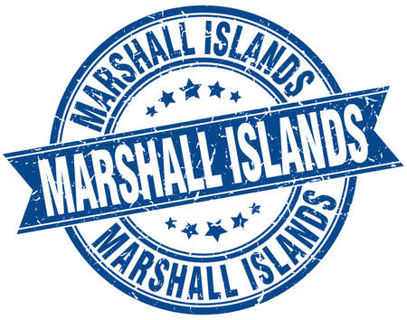 marshall: Marshall Islands blue round grunge vintage ribbon stamp