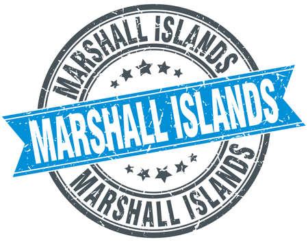 marshall: Marshall Islands blue round grunge vintage ribbon stamp