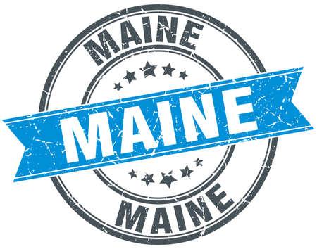 maine: Maine blue round grunge vintage ribbon stamp Illustration