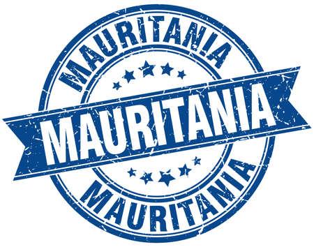 mauritania: Mauritania blue round grunge vintage ribbon stamp