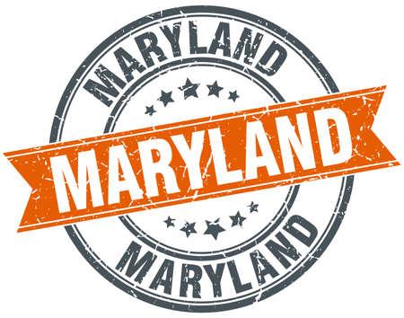 maryland: Maryland red round grunge vintage ribbon stamp