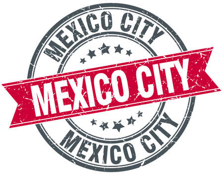 mexico city: Mexico City red round grunge vintage ribbon stamp
