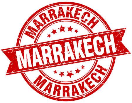 Marrakech red round grunge vintage ribbon stamp Illustration