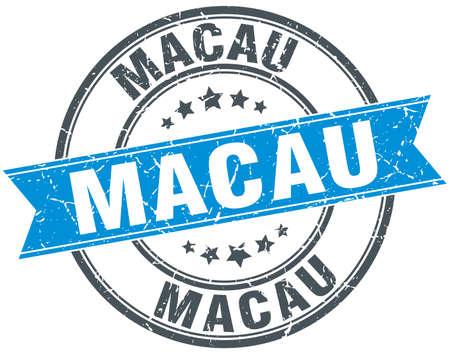 macau: Macau blue round grunge vintage ribbon stamp
