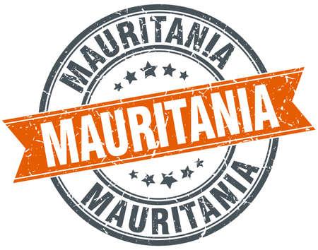 mauritania: Mauritania red round grunge vintage ribbon stamp