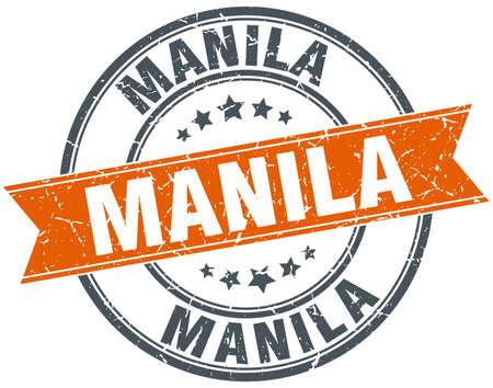 manila: Manila red round grunge vintage ribbon stamp