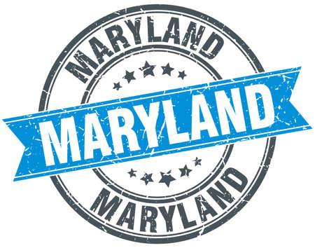 maryland: Maryland blue round grunge vintage ribbon stamp Illustration