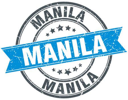 manila: Manila blue round grunge vintage ribbon stamp