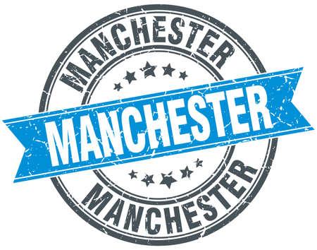 manchester: Manchester blue round grunge vintage ribbon stamp