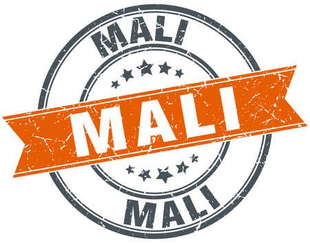 mali: Mali red round grunge vintage ribbon stamp