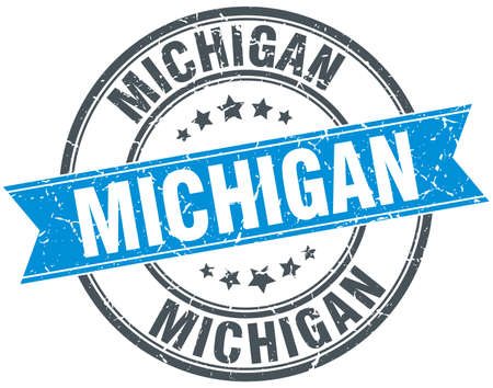 michigan: Michigan blue round grunge vintage ribbon stamp