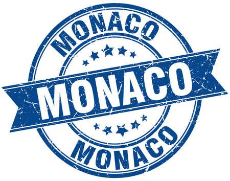 monaco: Monaco blue round grunge vintage ribbon stamp